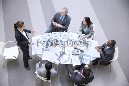 high angle view of gesturing businesswoman
