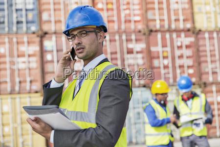 businessman talking on cell phone near