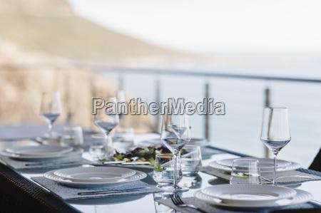 set table on luxury patio