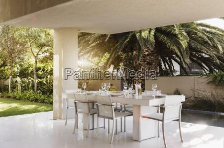 set table on modern patio