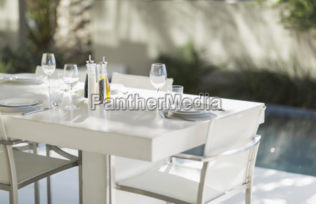 set dining table on modern patio