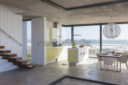 modern kitchen and dining room overlooking