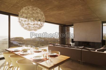 modern dining room and living room