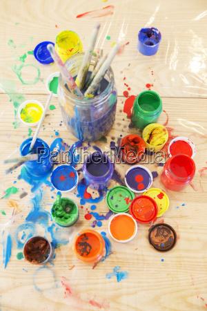 stilleben farbe gemaelde durcheinander malerei fotografie