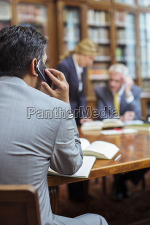 lawyer talking on cell phone in