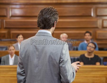 lawyer pleading case to jury in