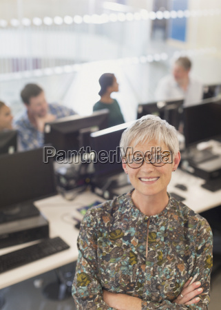portrait confident senior woman in adult