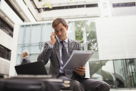 businessman working on bench in office