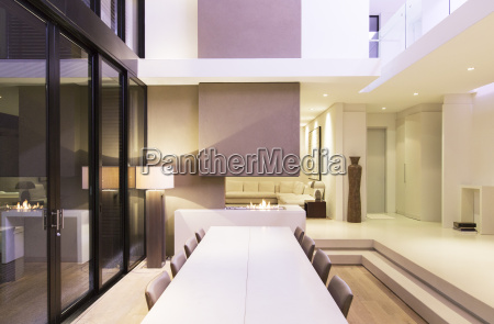 large table in modern dining room