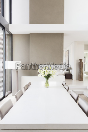 modern white and beige dining room