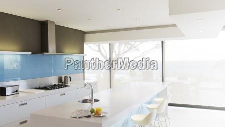 modern white kitchen with kitchen island