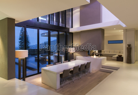 view of modern dining room with