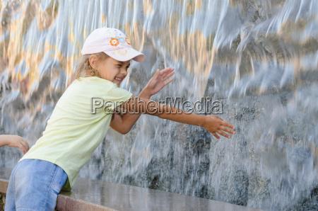 cheerful six year old girl in