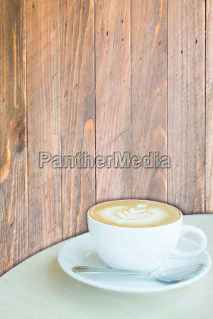 hot cup of coffee latte on