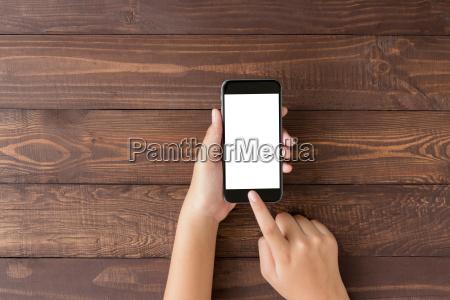 hand using phone blank screen on