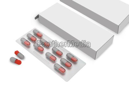 pille tablette mit verpackungskarton