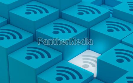 3d wi fi wireless netzwerk symbole
