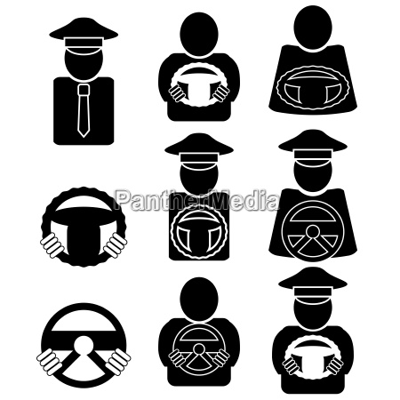 set of different driver icons isolated
