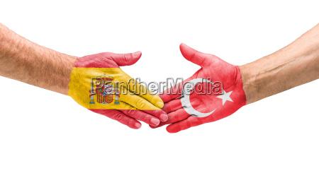 football teams handshake between spain