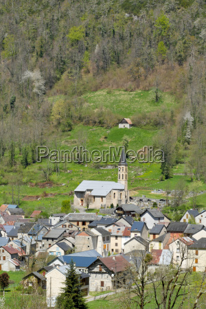 small mountain village in the french