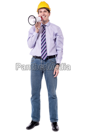 bauarbeiter mit megafon