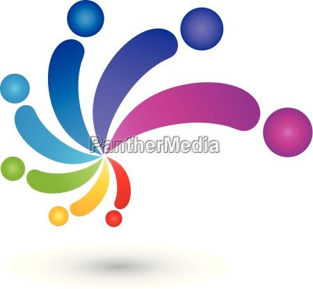 spiral people color painter logo