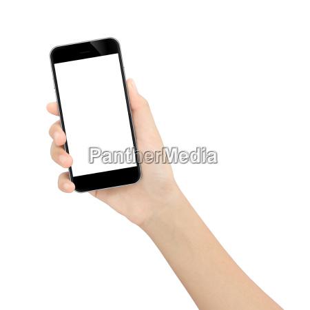 hand haelt schwarzen telefon isoliert weissen