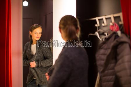 young woman shopping in a fashion