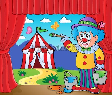 clown malerei bild des zirkus auf