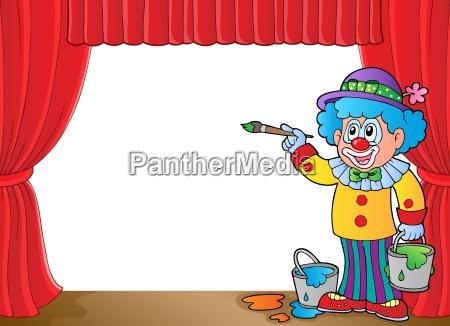 farbe gemaelde person clown malerei gardine
