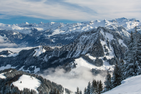 splendid winter alpine scenery with high
