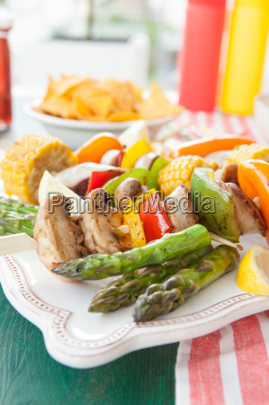 colorful barbecue spit with vegetables