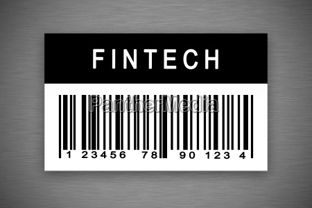 fintech or financial technology barcode label