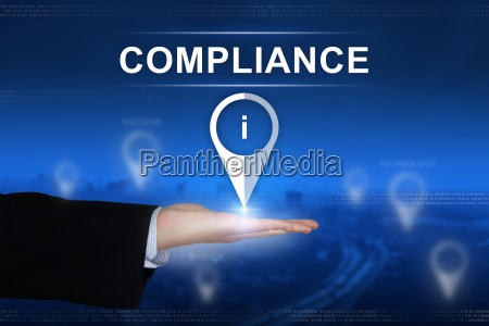 compliance button on blurred background