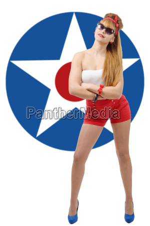 pretty girl pin up with american