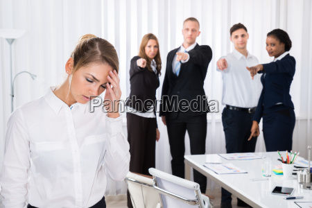 frustrated female colleague in office