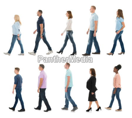 group of people walking in line