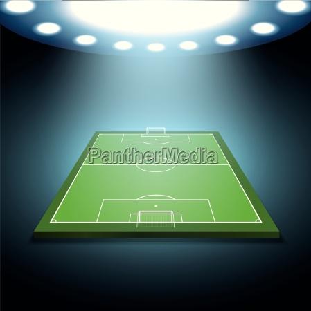 bright spotlights illuminated soccer field