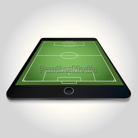 soccer field on tablet screen