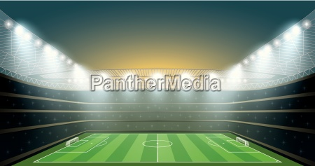 soccer stadium with spot light vector