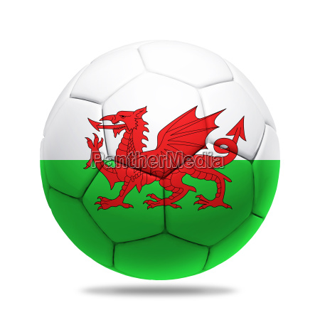 3d soccer ball with wales team