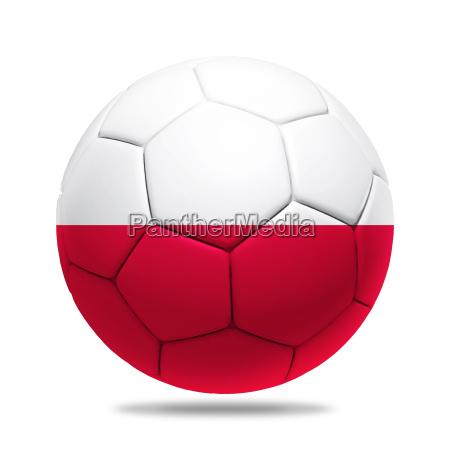 3d soccer ball with poland team