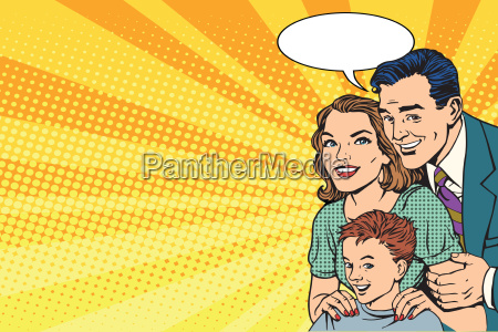 happy retro family on the poster