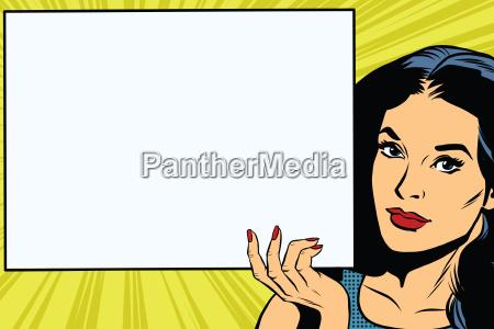 brunette girl holding a blank rectangular