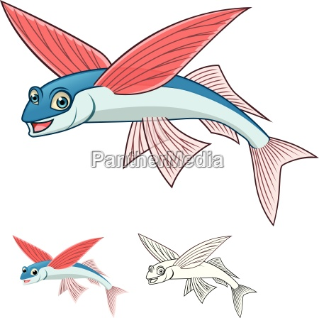 high quality flying fish cartoon character