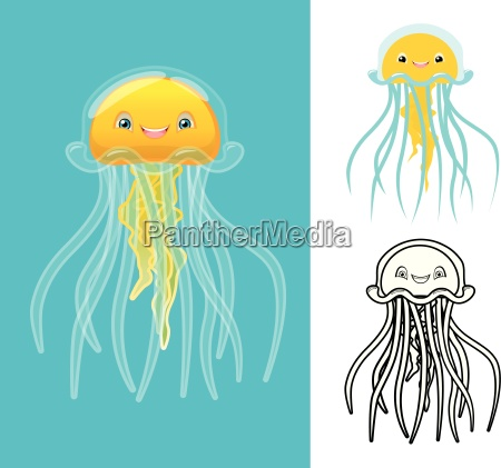 high quality jellyfish cartoon character include