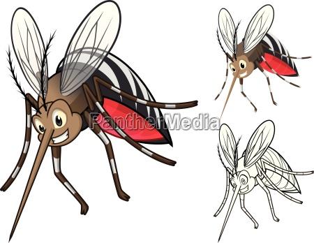 hohe qualitaet detaillierte mosquitoes cartoon figur