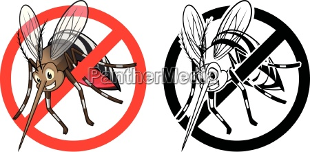 high quality prohibition sign mosquito cartoon