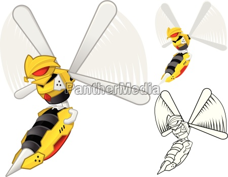 robot wasp cartoon character include flat