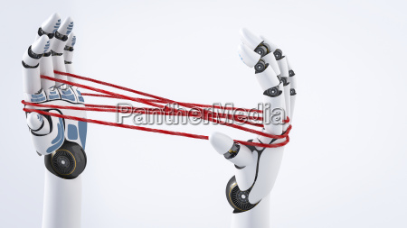 robot hand holding red threads 3d